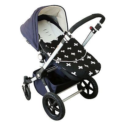Bambella Designs Pram Footmuff- Black Cross