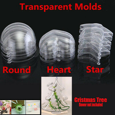 Clear Plastic Sphere Bath Bomb Mould Acrylic Mold Heart Round Christmas tree