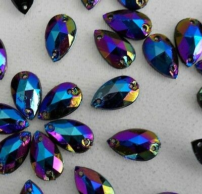 70pcs Black AB Crystal Tear Drop 8x12mm Acrylic Flatback Rhinestones Sew-on