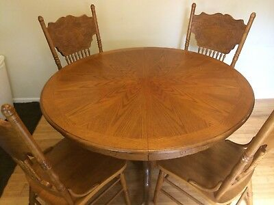 Round Oak Clawfoot Table with 4 Chairs