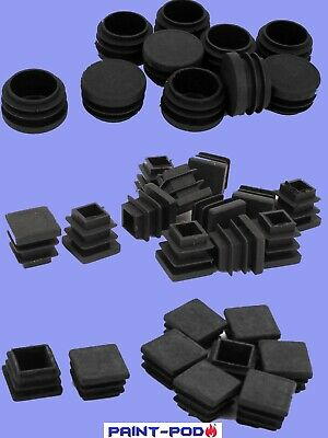 Plastic Square ROUND Table Chair Leg Feet Tube Pipe End Inserts Caps Bung Choose