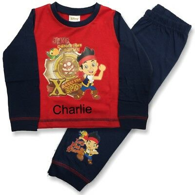 Personalised Disney Jake the pirate red pyjamas age 1 - 4 years with a name