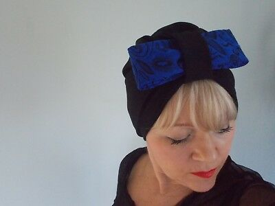 TURBAN black viscose VINTAGE LOOK 1940s 50s SWING HAT HEAD SCARF HAIR blue bow