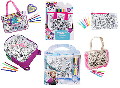 Kids Frozen,Trolls Colour Your Own Tote Bag,Backpack Craft Set Girls Gift 3+y