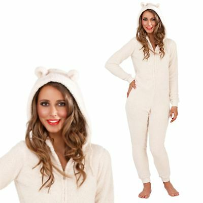 Womens/Ladies Snuggle Onezie With Ears Animal Novelty Soft Fleece Pyjama All in