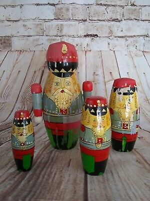 7 Inch Vintage Christmas Nutcracker Soldier Wooden Nesting Doll 5 Piece Set