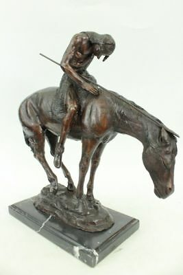 """James E. Fraser """"End of the Trail"""" Bronze Statue - 16 Inch - Marble Base Figure"""