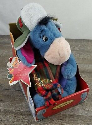 "Disney Store 1999 A Season To Remember Winter Eeyore Holiday 12"" Plush In Box"