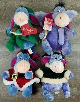 "Disney Store 12"" Plush Holiday Eeyore Collection Of 4 Christmas Santa Cupid Love"