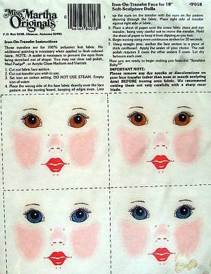 """Iron-On Face Transfers For 18"""" Soft Sculpture Dolls  Miss Martha Originals"""