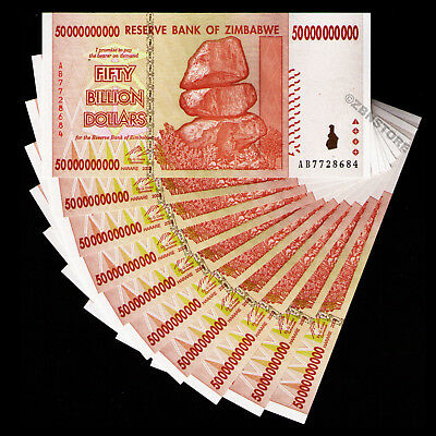 10 x 50 Billion Zimbabwe Dollars Banknotes AB 2008 Almost UNC About Uncirculated