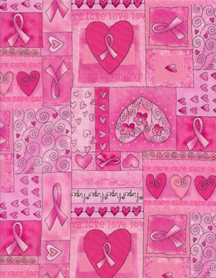 Pink Ribbon Patchwork Timeless Treasures 100% cotton Fabric by the yard