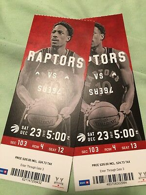 Toronto Raptors vs. Philly 76ers - Sat Dec. 23rd - Sec 103 Row 4 Seats 12/13 WOW