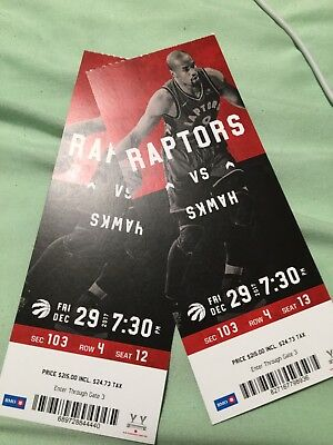 Raptors Tickets vs. Atlanta Hawks - Fri Dec. 29th - Sec 103 Row 4 Seats 12/13.