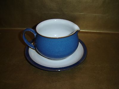 denby imperial blue gravy / sauce boat and tray / saucer
