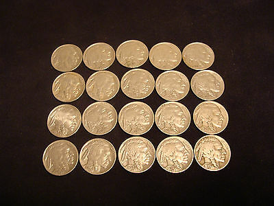 20 Better Grade Circulated Buffalo Nickels Low Cost and Low Shipping