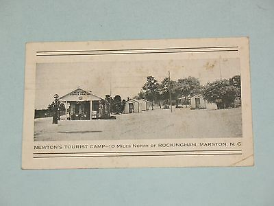 rare 1937 POSTCARD ~ NEWTON'S TOURIST CAMP & GAS STATION ~ ROCKINGHAM-MARSTON N.