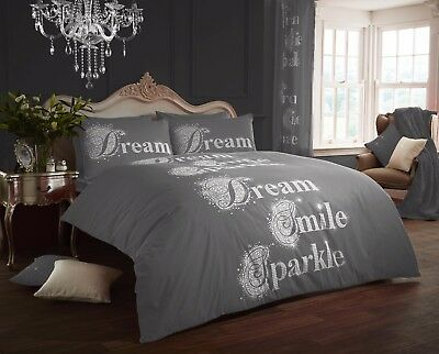 Dream Smile Sparkle Grey Luxury Duvet Covers Quilt Covers Bedding Sets All Sizes