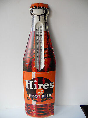 Antique Hires Root Beer Thermometer Sign Tin Metal Advertising Bottle Vintage