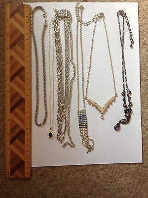 Job lot of Vintage necklaces Silver Tone Stones