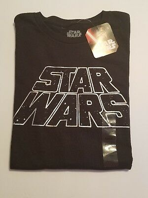 New! Star Wars Official Licensed Metallic Silver Logo T-shirt XL Black NWT D003