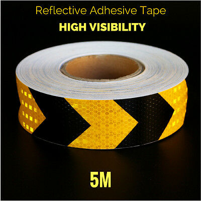 Black & Yellow Arrow Reflective Safety Security Tape Strips Glue Car Stickers 5M