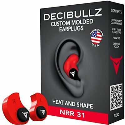 Decibullz Custom Moulded Earplugs: One Size Fits All, Travel, Safety, Work (Red)