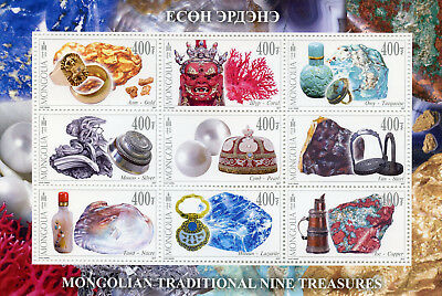 Mongolia 2017 MNH Traditional Nine Treasures Lazurite 9v M/S Minerals Stamps