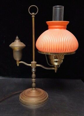 Antique Brass Student Bankers Desk Table Lamp w/ PINK Ribbed Glass Shade $99.99