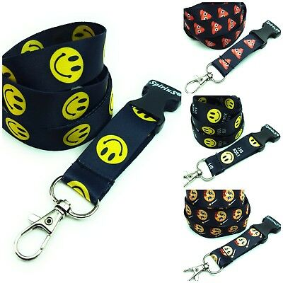 Spirius smiley Lanyard Neck Strap with safety clip for ID Card Badge Holder