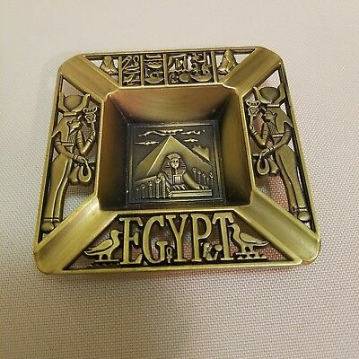 Egyptian Antique Ashtray Plate Decorative Scarab Metal Ancient Hieroglyphic