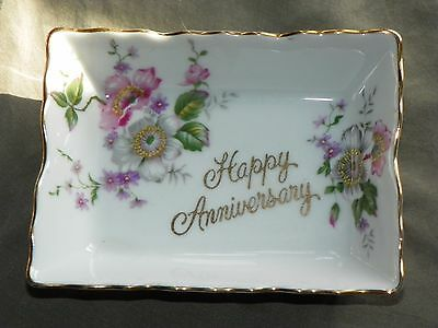 "Saji, Fine China ""Happy Anniversary"" Mint or Candy Dish, Made in Japan"
