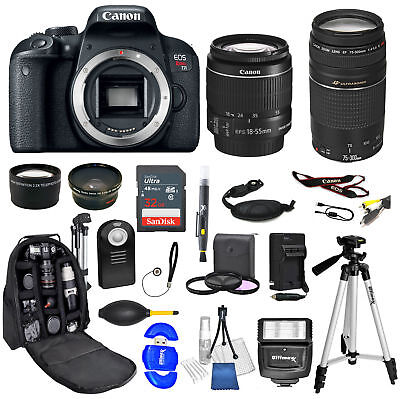 Canon EOS Rebel T7i Camera + 18-55mm stm + 75-300mm + Backpack 32GB  Bundle