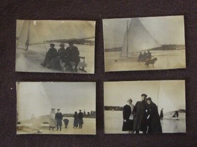 LOT OF FOUR Vintage 1910's SMALL ICE SAIL BOAT ON FROZEN LAKE PHOTO'S