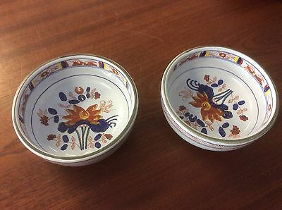 Pair of Italian Pottery Sauce Bowls Hand Painted For Tiffany & Co.