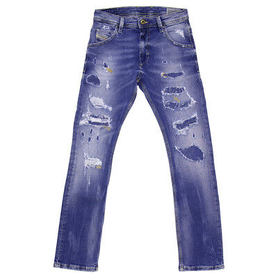 Diesel jeans blu in denim destrutturato