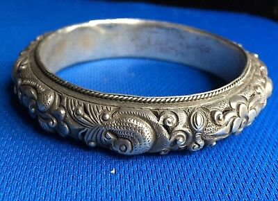 Vintage1900's Tribal Ethnic Chinese Silver Bangle Bracelet High Relief Motifs