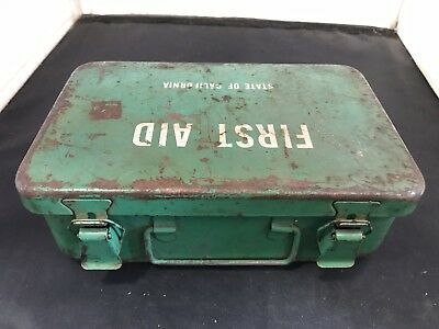 First Aid Kit Vintage Metal Case State Of Calfornia 1950 S 60S Full Metal Box