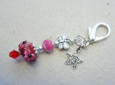 Lampwork Bead w Red Crystal - Just for You Clip on Charm or Zipper Pull