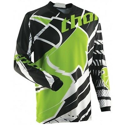 Thor Phase Mx Moto Offroad Or Bmx Mens Jersey Green Black S M L Xl 2Xl
