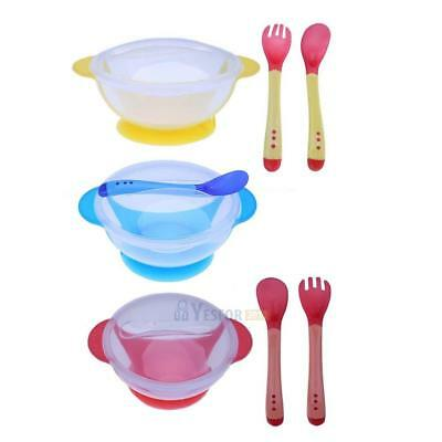 Baby Toddler Sucker Bowl Set W/ Bowl Lid Spoon Fork Baby Training Eating Dishes
