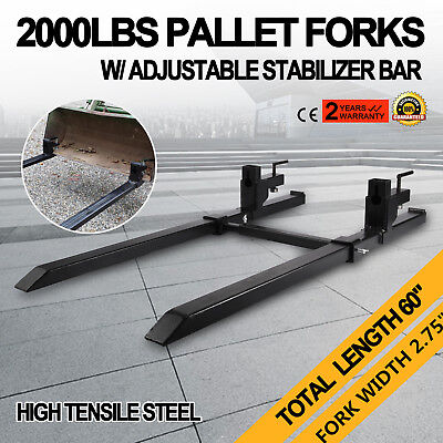 """43"""" Clamp on Pallet Forks w/ Stabilizer Bar 2000lb Heavy duty Slots Tractor"""