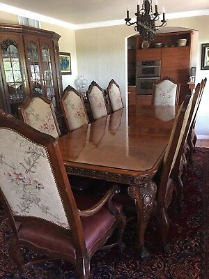 HENREDON 11 PC Rectangular Dining Table 10 Chairs 8 Side 2 Arm