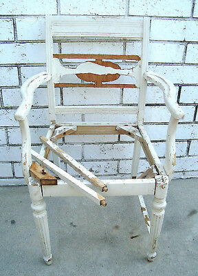 Antique Swedish Gustavian Architectural Salvage Chippy Painted Arm Accent Chair