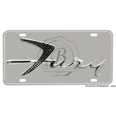 1957 Plymouth Fury Emblem Printed Flat Aluminum License Plate