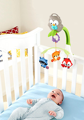 Fisher-Price Baby Musical Crib Mobile Toy 3-in-1 for Bed Stroller Animals Spins
