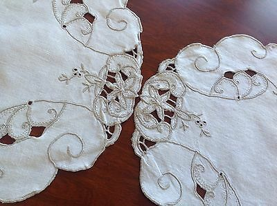 Vintage Hand Embroidered Off White Linen & Taupe Doiley X 2 Cloth Table Centre