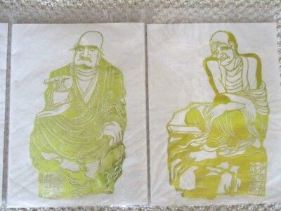Collection of 18 vintage large Chinese Gold Leaf hand cut figures