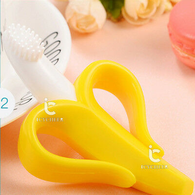 Toothbrush Training Teething Banana Brush for Baby Kids Toddler Teether Yellow