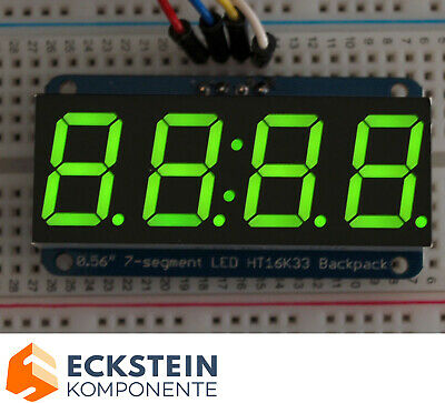"Adafruit 0.56"" 4-Digit 7-Segment Display w I2C Backpack - Green AF880"
